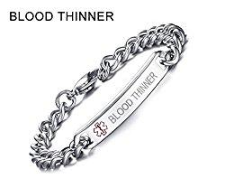 BLOOD THINNER-8mm High Polished Surgical Steel Chain Medical Alert ID Bracelets for Men&Women,8″