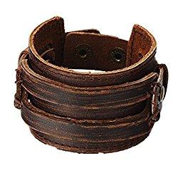 Brown Leather Men's Cuff Bracelet