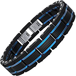 COOLMAN Men Bracelets Blue&Black Adjustable Bracelet for Men 8.5-9 Inch ( With Branded Gift Box)