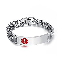 DIB (Free Engraving) Stainless Steel Medical Alert ID Bracelet Tag Link Chain Wrist for Men,8.5 inches