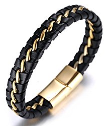 "Halukakah ""SOLO"" Men's Genuine Leather Bracelet with Titanium Chain Silver/Golden/Gun Black 8.46″(21.5cm)"