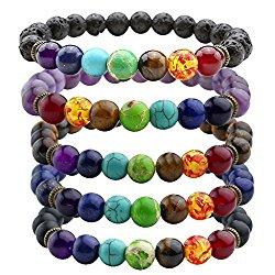 JOVIVI 7 Chakras Gemstone Bracelet Natural Stones Yoga Reiki Prayer Stone – Pack of 1-5