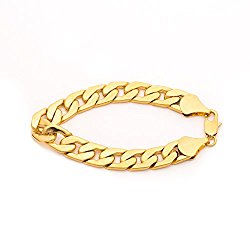 Lifetime Jewelry Cuban Link Bracelet 11mm, Flat Wide, 24K Gold Over Semi-Precious Metals, Fashion Jewelry, 24K Overlay, Thick Layers Help Resist Tarnishing, 8-10 Inches