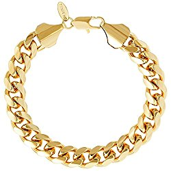 Lifetime Jewelry Cuban Link Bracelet, 11MM, Round 24K Gold Over Semi Precious Metals, Fashion Jewelry Necklace, Designed to Resist Tarnishing, LIFETIME REPLACEMENT GUARANTEE, 8-10 Inches