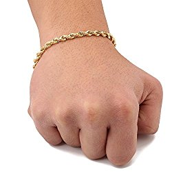 LoveBling 10K Yellow Gold 5mm Solid Diamond Cut Rope Chain Bracelet with Lobster Lock (7″, 7.5″, 8″, 8.5″, 9″)
