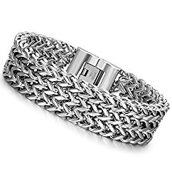 LOYALLOOK Stainless Steel 19MM Cuban Curb Link Chain Men's Bracelets Rock Link Wristband ,8.0-9.1 Inches