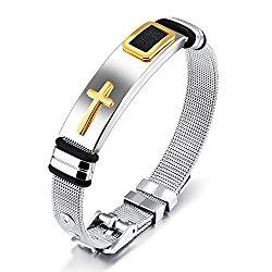 Moniya Stainless Steel Religious Cross Bracelet Bangle For Men Boys Sporty Wristband Size Adjustable