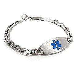 MyIDDr Customized Free Engraving Medical Alert Bracelet, 316L 7mm Steel Matte Links