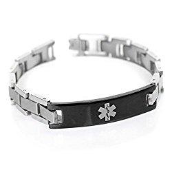 MyIDDr Mens Medical Alert Bracelet with Free Engraving, 316L Steel Link