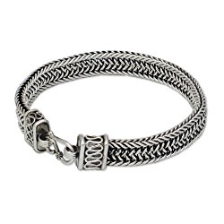 NOVICA .925 Sterling Silver Men's Woven Chain Bracelet, 8.5″, 'Kingdom'