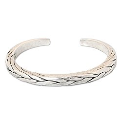 NOVICA .950 Sterling Silver Men's Braided Cuff Bracelet 'Hill Tribe Braid'