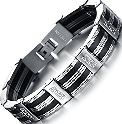 Ostan Mens Bracelet Men's Royal Stainless Steel Link Bracelet Punk Biker Wrist Silver