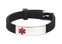 Silicone Bracelet Medical Alert ID for Men and Women Adjustable Size (Free Engraving)