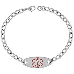 Surgical Steel Medical Alert Bracelet for Type 1 Diabetic ID 9/16 inch wide, 9 inch long