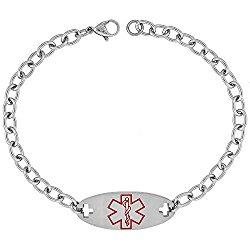 Surgical Steel Medical Alert Bracelet for Type 2 Diabetic ID 9/16 inch wide, 9 inch long