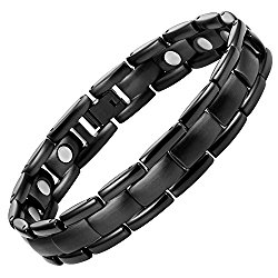 Titanium Magnetic Therapy Bracelet Black Adjustable By Willis Judd For Pain Relief Arthritis and Carpal Tunnel