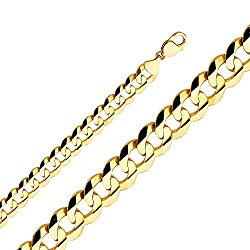 Wellingsale 14k Yellow Gold SOLID 14mm Polished Cuban Concaved Curb Chain Necklace