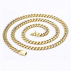 14K Chain Cuban Necklace 9MM Miami Link w/ real solid clasp 24K USA PATENTED w/ Signed Warranty Men