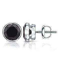 14k Gold Round Black Diamond Men's Bezel Stud Earrings (1/2 – 4 ct, Black) Screw-Back
