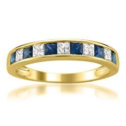 14k Yellow Gold Princess-cut Diamond and Blue Sapphire Wedding Band Ring (5/8 cttw, H-I, I1-I2)