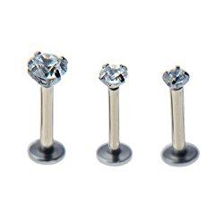 16g 2/3/4mm Cubic Zirconia Triple Forward Helix Ear Cartilage Tragus Studs Earrings Lip Piercing 16 gauge