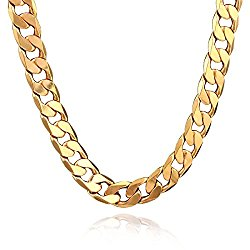 18K Gold Plated Men Chain Necklace Figaro Punk Style Jewelry,12mm
