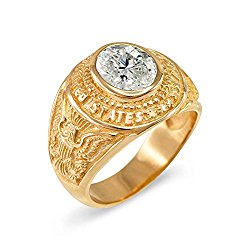 April CZ Birthstone US Army Men's Ring in Solid 10k Yellow Gold