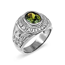 August CZ Birthstone US Army Men's Ring in Solid 925 Sterling Silver
