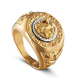 AUMRET Stainless Steel Hip Hop Ring Lion Ring Men Titanium Steel Ring