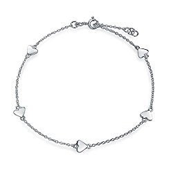 Bling Jewelry 925 Sterling Silver Heart Link Anklet Ankle Bracelet 9 inches