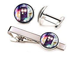 Doctor Who Cufflinks, Tardis Tie Clip, Dr Who Tardis Cuff Links Tack, Time Lord Jewelry, Gallifrey Doctor Who Wedding Party