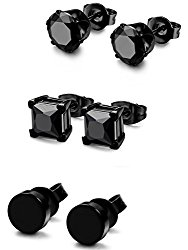 FIBO STEEL 3 Pairs Stainless Steel Black Stud Earrings for Men Women CZ Earrings, 3mm-8mm Available