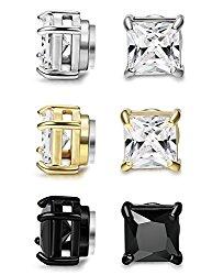 FIBO STEEL 3 Pairs Stainless Steel Magnetic Earrings for Men Women CZ Studs Earrings,4-8MM