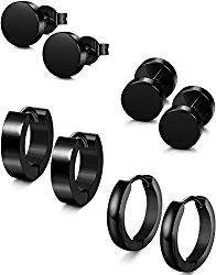 FIBO STEEL 4 Pairs Stainless Steel Stud Earrings for Men Women Hoop Earring Huggie 18G