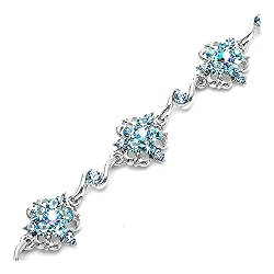 Glamorousky Antique Chain Bracelet with Blue Austrian Element Crystals (1558)