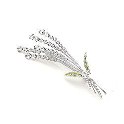 Glamorousky Lavender Brooch with Silver and Green Austrian Element Crystals (930)