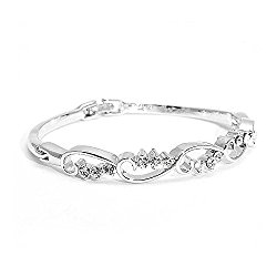 Glamorousky Wavy Bangle with Silver Austrian Element Crystals (1546)