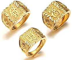 """Halukakah """"GOLD BLESS ALL"""" Men's 18K Gold Plated KANJI Ring RICH/LUCK/WEALTH Set Size Adjustbale with FREE GIftbox"""