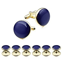 HAWSON Elegant Blue Man Shirt Studs and Cufflinks Set for Wedding Business Gold