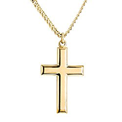 Heartland Classic High Polish Cross 14 Karat Gold Filled Pendant for Men + USA Made + Chain Choice