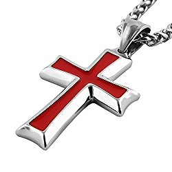 HZMAN Mens Stainless Steel Cross Pendant Necklace Flower Basket Chain