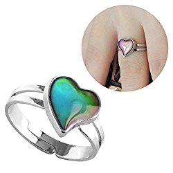 Inspiration Hear Shaped Mood Ring Can Change The Color And Adjustable The Size Of The Decorations