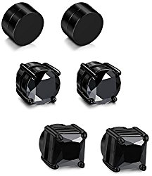 JOERICA 2-4 Pairs Stainless Steel Magnetic Stud Earrings for Men Women Non Piercing Clip on CZ Earrings 6-8MM