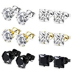 JOERICA 6 Pairs Stainless Steel Stud Earrings for Men Women CZ Earrings,3-8MM