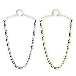 JOVIVI 2pc Set Men's Silver Golden Necktie Tie Clips Link Chain Cravat Collar Pins Brooch w/Box