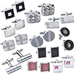 JOVIVI® 4Pairs Stainless Steel Mens Classic Modern Ornate Pattern Style Dress Shirt Cufflinks Mix Design Set