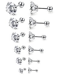 Jstyle 6 Pairs 18G Stainless Steel Mens Womens Stud Earrings Cartilage Ear Piercings Helix Tragus Barbell CZ 3-8mm