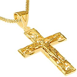Lifetime Jewelry Crucifix Necklace, Filigree Cross Pendant, 24K Gold Over Semi-Precious Metals, Comes on 20 Inch Chain in a Box or Pouch for Easy Gift Giving