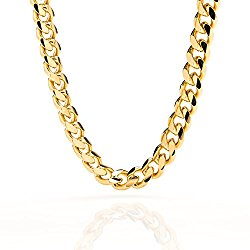 Lifetime Jewelry Cuban Link Chain 9MM, Round, 24K Gold with Inlaid Bronze, Fashion Jewelry Necklaces, Guaranteed for Life, 18-36 Inches