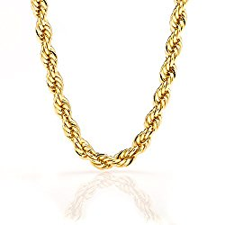 Lifetime Jewelry Rope Chain 7MM, 24K Diamond Cut Fashion Jewelry Necklaces in Yellow or White Gold Over Semi Precious Metals, Hip Hop or Classic, Comes with Box or Pouch, 16-36 Inches